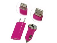 USB 3 in 1 Ladeset magenta für Apple iPhone 5 / Netzadapter, KFZ-Adapter, Lightningdatenkabel