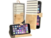 Qiotti 2 in 1 Denim Leather Case creme line für Apple iPhone 6 Plus